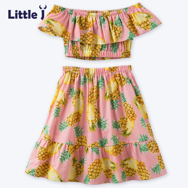 7fa8670ddc9 Little J Girls Tropical Pineapple Short Sleeves Off Shoulder Top+skirt Set  Shoulderless Summer Style