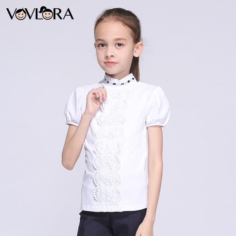Girls School T shirts Cotton White Lace Kids T shirt Tops Short Sleeve Turtleneck Children Clothes 2018 Size 7 8 9 10 11 12 Year