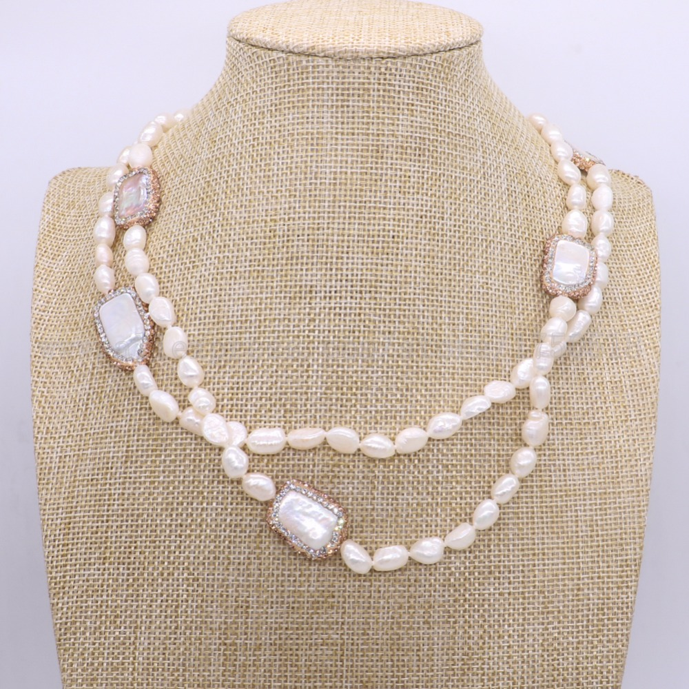 Natural pearl necklace  stone necklace  with  6 piece rectangle pearl necklace druzy Gems   jewelry for women 1833Natural pearl necklace  stone necklace  with  6 piece rectangle pearl necklace druzy Gems   jewelry for women 1833