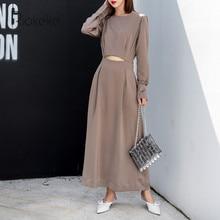 Riokeke Satin Bare Midriff Long Dress High Waist Long Sleeve Casual Women  Autumn Dress 2018 Dress Elegant Maxi Dresses New 66744b2b9ee2