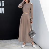 Riokeke Satin Bare Midriff Long Dress High Waist Long Sleeve Casual Women Autumn Dress 2018 Dress Elegant Maxi Dresses New