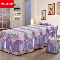 A Piece Jacquard Beauty Bed Skirt 70*190cm Beauty Salon Bedspread with Hole Customized Size Pink Purple Blue Jade Yellow