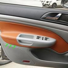 лучшая цена LHD For Skoda Octavia 2007 2008 2009 2010 2011 2012 2013 2014 4pcs Microfiber Leather Car Door Handle Armrest Panel Cover Trim
