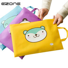EZONE 1PC Kawaii Cartoon A4 Tote File Folder Canvas Briefcase Multifunction Handbag Zipper Pocket Office Supplies Stationery(China)