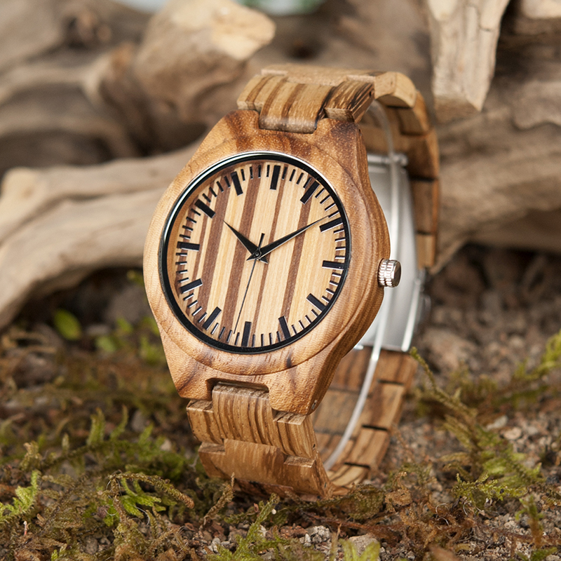 BOBO BIRD G22 Retro Wood Watches Men 100% Zebra Wooden Watch Quartz Movement Male Clocks Best Gift in Gift Box bobo bird wh05 brand design classic ebony wooden mens watch full wood strap quartz watches lightweight gift for men in wood box
