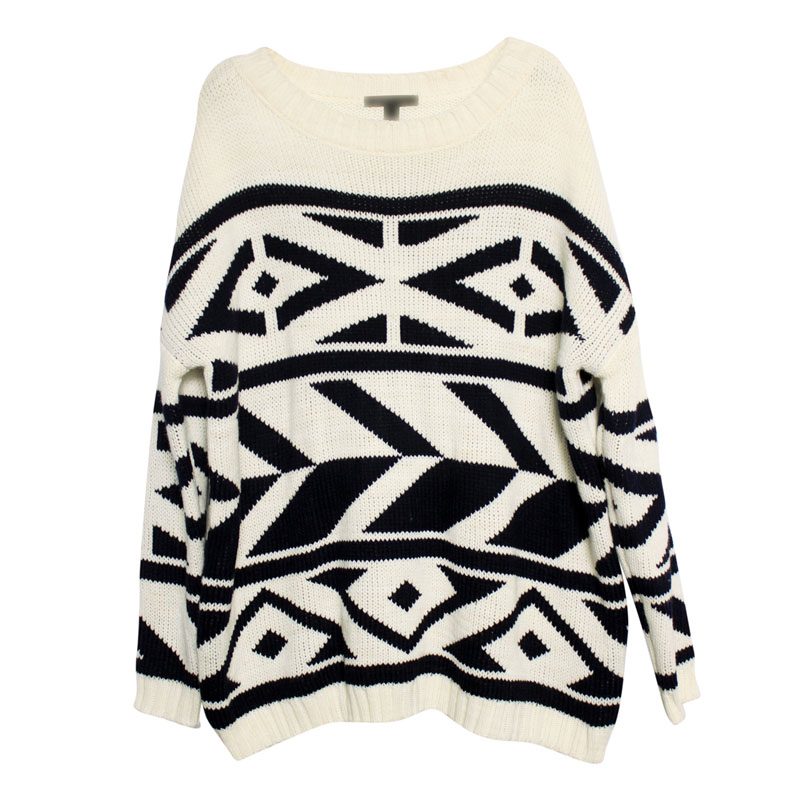 NEW! Acm fashion topshop loose o-neck sweater geometry crotch black-and-white top Free shipping