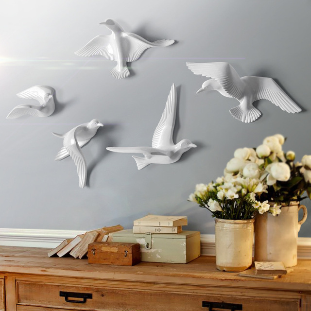 5pcs/set Creative 3D Resin bird Home Decoration decor wall stickers decoration Furnishings The dove of peace for European mascot 3