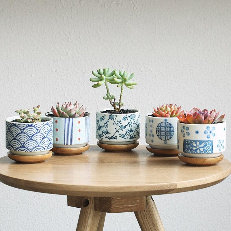 US $7.7 7% OFFgarden supplies garden flower pots planters+bamboo pot  trays Japanese style ceramic floor desktop office home decorative potspot