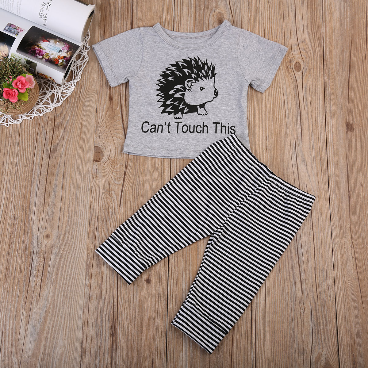 Cute Cotton Newborn Infant Baby Boy Striped Outfits Clothes Casual T-shirt Tops+Long Pants 2pcs Set