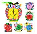 Una pieza divertida de la historieta animal diy hecho a mano relojes kits de aprendizaje rompecabezas niños artes artesanía regalo juguetes educativos 3-6 años de edad