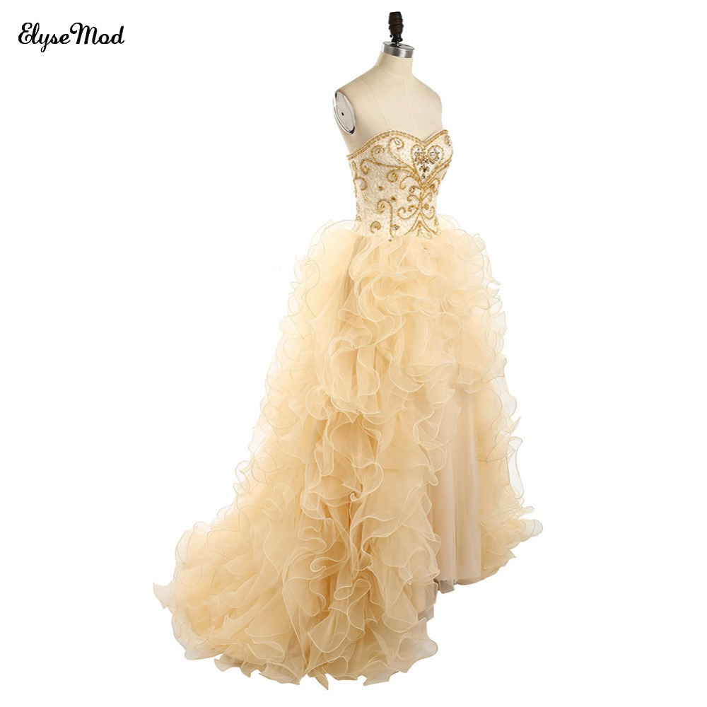 Offre spéciale robe de bal Champagne dentelle chérie robes de grande taille de bal pour 2018 femmes bal à volants robe perlée livraison gratuite - 4