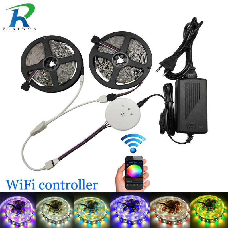 10 m DC12V RGBW LED bande 5050 60 LED/m avec UFO WiFi contrôleur 12 V adaptateur puissance smd5050 LED bande RGBW RGBWW LED Kit de rayures