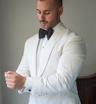 adf0e30fefa0 Gran hombre vestido blanco traje de marfil para novio hombres boda esmoquin  kingsman trajes a medida ...