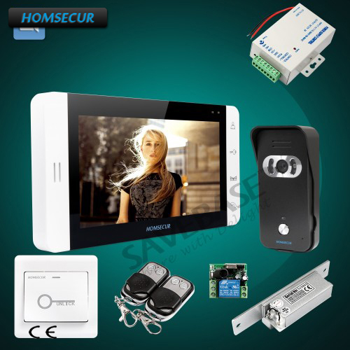 HOMSECUR 7 Wired Hands-free Video&Audio Home Intercom with Black Camera+Dual-way Intercom 1C1M for House/Flat