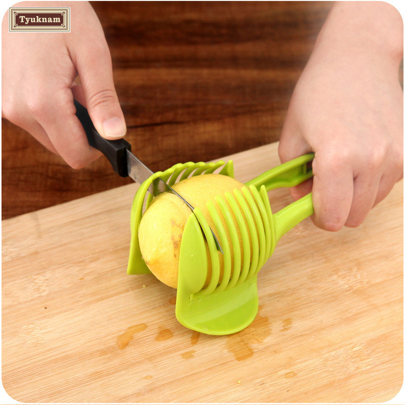 Onion Tomato Vegetable Slicer Cutting Aid Guide Holder Slicing Cutter Gadget Tomato Onion lime lemon Holder and Slicer Aid Tool