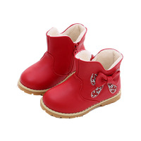 Fashion Child Baby Girls Toddler Winter Bow Snow Boots 2018 Pink Red Warm Plush Warm Leather