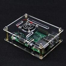 Raspberry Pi 3 Чехол прозрачный акрил крышку коробки Корпуса для Raspberry Pi 3/2 Модель b + новый Дизайн Стиль + вентилятор охлаждения