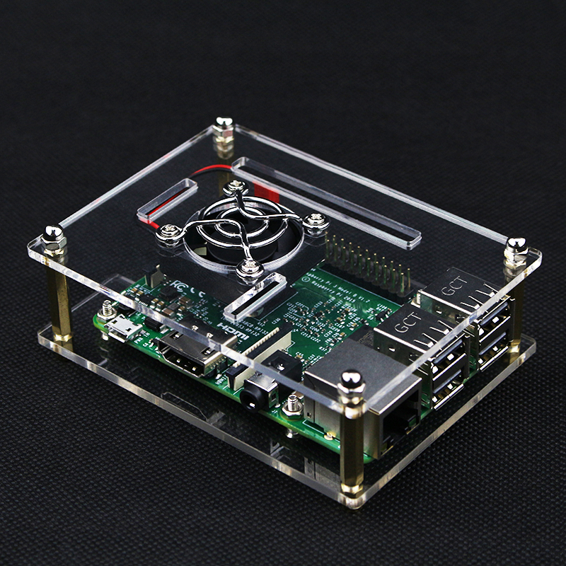 Raspberry Pi 4 B Case Clear Transparent Acrylic Box Cover Shell For Raspberry Pi 4 Model B / 3B+ Cooling Fan With Metal Cover