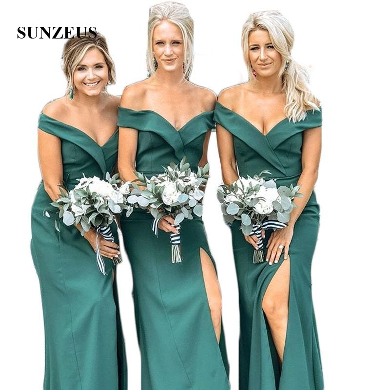 Sweetheart Off the Shoulder Chiffon   Bridesmaid     Dresses   Sheath Simple Wedding Guest   Dresses   Leg Slit Party   Dresses   SBD130