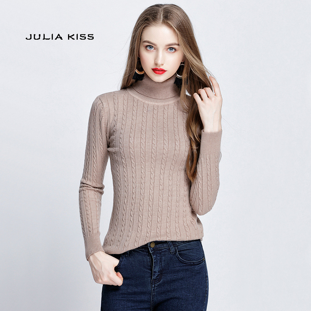 b73a8d279d3 Autumn & Winter Women Roll Neck Cable Knit Jumper Long Sleeve Thick Knit  Tops Pullovers