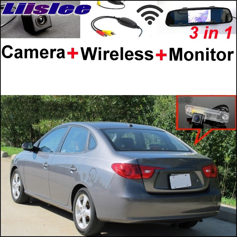Liislee 3 in1 Special Rear View Camera Wireless Receiver + Mirror Monitor Parking System For Hyundai Elantra Inokom XD HD MD UD wireless pager system 433 92mhz wireless restaurant table buzzer with monitor and watch receiver 3 display 42 call button