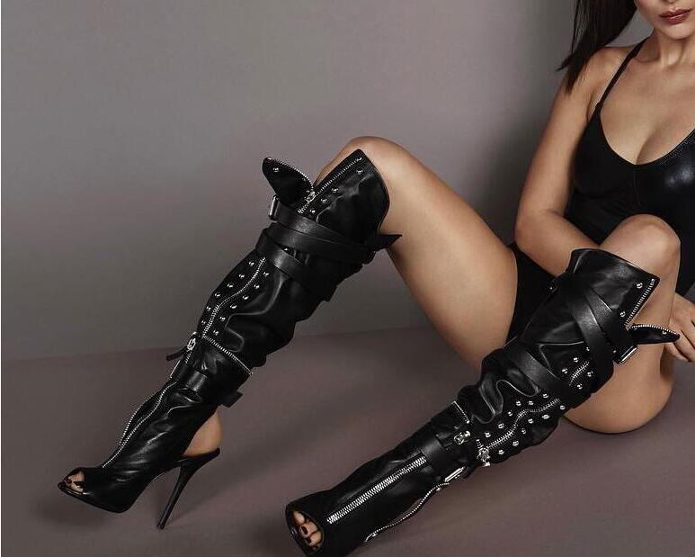 New Black Leather Women High Heel Motorcycle Boots Sexy Peep Toe Ladies Buckles Knee High Boots Slingback Zipper Connect Boots new popular black and white exquisite beads and rivets decorated three buckles peep toe high heeled short sandal boots