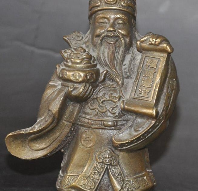 Chinese Bronze Copper Wealth Money Treasure Bowl Fortuna Mammon God Rich Statue