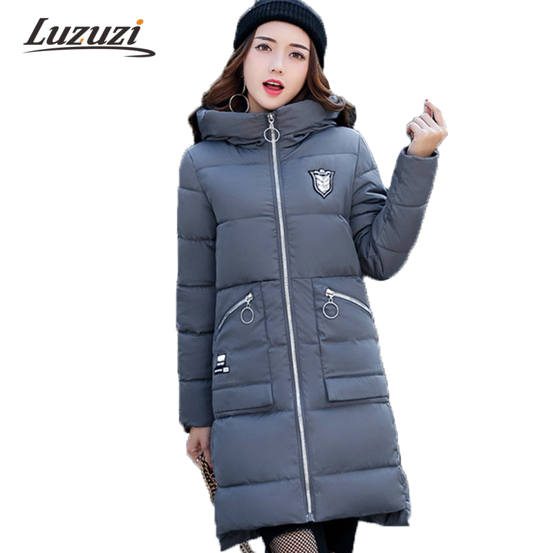 2017 Winter Coats Women Winter Parkas Female Long Hooded Cotton Down Jackets Hooded Solid Overcoats abrigos