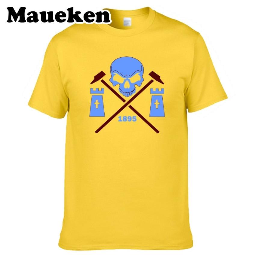 Men T-shirt West Ham Skull and Crossbones Tees Short Sleeve 100% Cotton The Hammers T SHIRT United Mens W02090999 Skull and crossbones