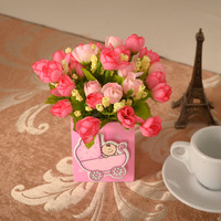 vase/ The simulation of 3 different flowers decorating the living room Home Furnishing pen pot set artificial flowers cheap