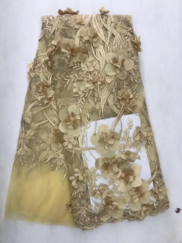 Nigerian Lace Fabric 2018 High Quality Lace Gold French Mesh Lace Applique Sequin ,Beaded Lace-Fabric For Wedding Dress JL141