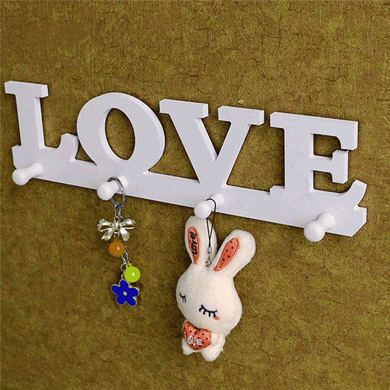 New Arrival High Quality Vintage White LOVE Hook Clothes Robe Key Holder Hat Hanger Wall Home Decoration Beautiful Design