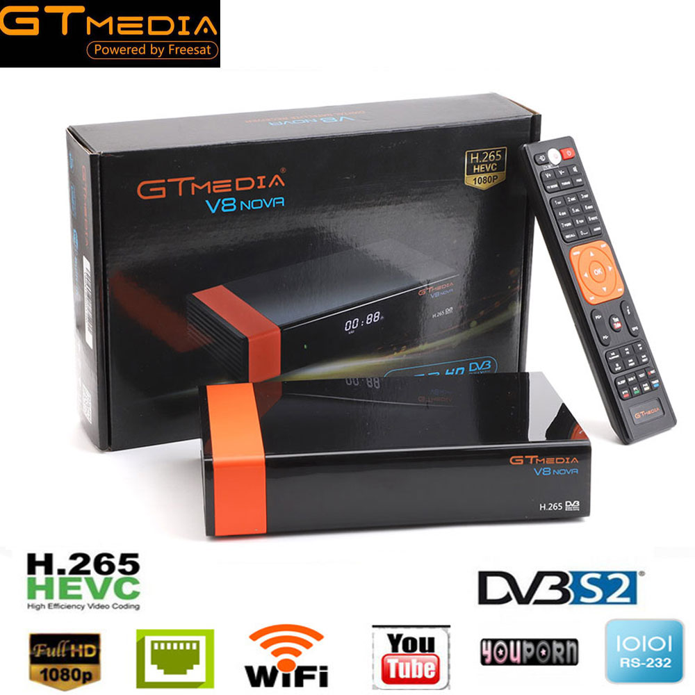 GTMedia V8 Nova DVB-S2 Receptor Lnb Freesat Satellite TV Receiver H.265 HD built-in WIFI Set Top Box advanced free sat V8 Super цена 2017