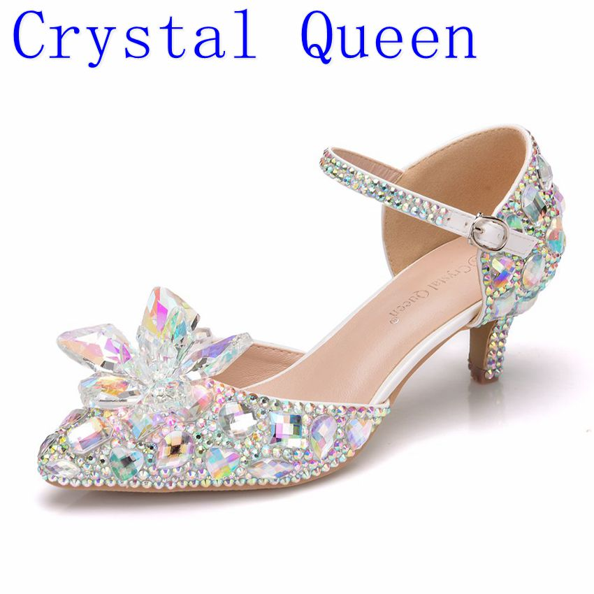 Crystal Queen 5CM Pointed Toe Bride Wedding Shoes Cinderella Prom Pumps Ankle Strap Buckle Shoes Rhinestone