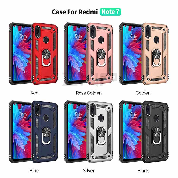 ZNP Luxury Armor Stand Case For Xiaomi And Redmi Note 7 8 Pro With Magnetic Ring Holder 13