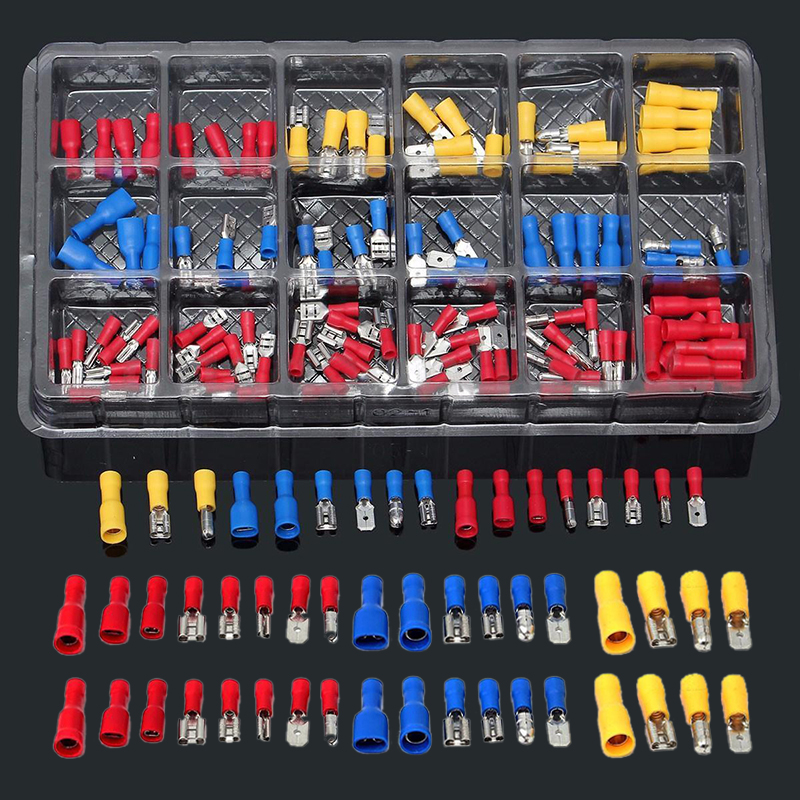 120pcs Insulated Crimp Butt Spade Ring Fork Terminal Wire Connector Kit Set 22-10AWG Terminals 600 pcs copper wire crimp tube connector spade insulated cord end cable wire terminal kit diy hand tool set for 22 10awg