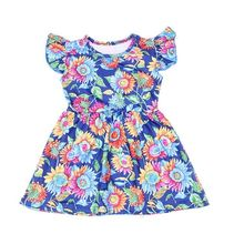 Baby Girls Summer Hot Floral Dress Kids Blue Yellow Flower C