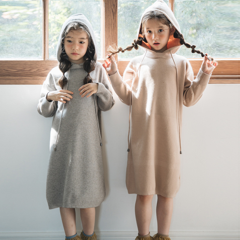 Autumn Dress Girls New Sweater Girls Clothes Winter Long Korean Long Sleeve Dress Girls Teen Dress Hood Slim Long Dress 4-14 T kohuijoo autumn winter women sweater dress medium long 2018 korean warm knitted geometric dress half turtleneck long sleeve sexy