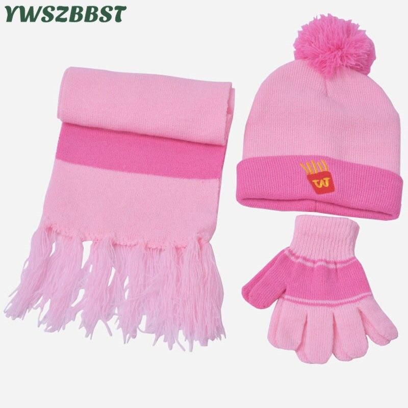 Fashion 3PC Children Hat Scarf Glove Sets Autumn Winter Cartoon Baby Cap Girls Scarf Hat Glove Knitted Hat Kids Beanies Caps