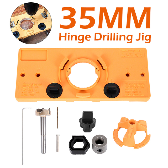 35MM Cup Style Hinge Boring Jig Drill Guide Set Door Hole Template for Kreg Tool Drill Bit Set for Metal