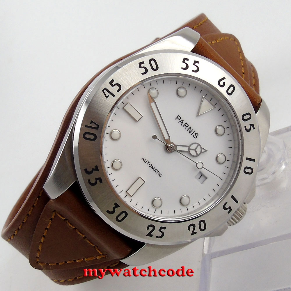 43mm Parnis white dial Sapphire Glass brown strap miyota Automatic mens Watch602 цена и фото