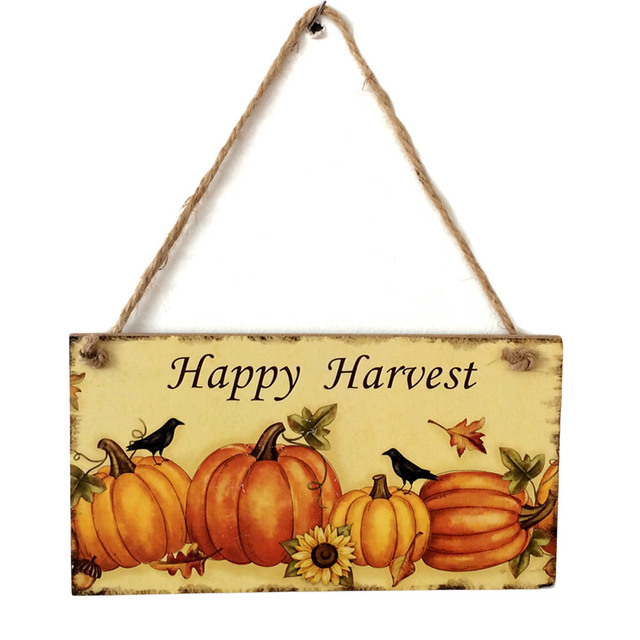 Happy Pumpkin Harvest Sign Hanging Plaque Thanksgiving Party Door ...