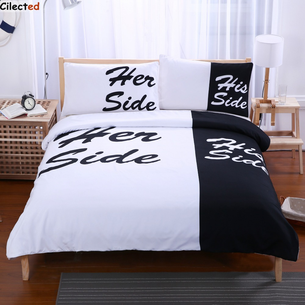 popular couples comforterbuy cheap couples comforter lots from  - cilected black and white bedding set his side  her side couple hometextiles soft duvet