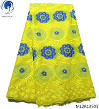 BEAUTIFICAL african swiss lace fabrics 2019 yellow voile laces with rhinestones for women 5yards ML2R135