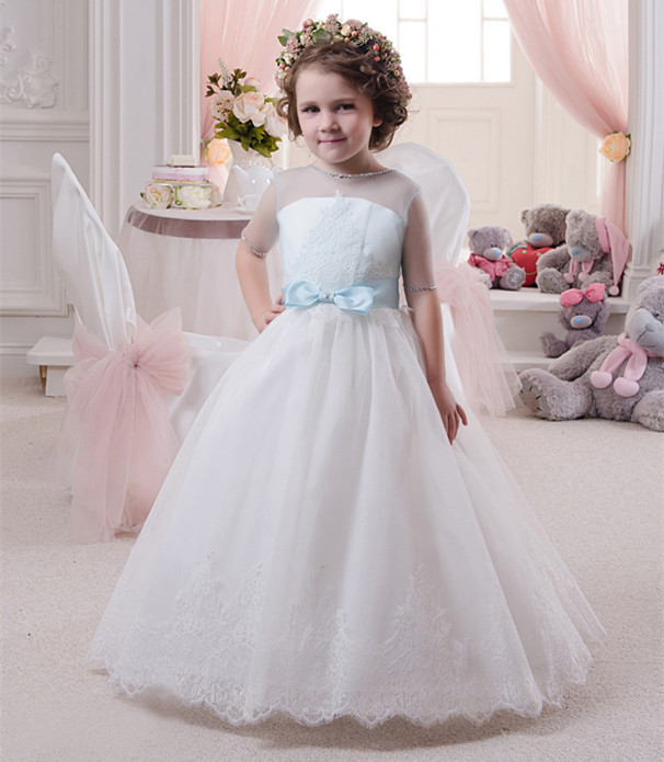 New Girls Puffy Dresses Ball Gown Half Sleeve Lace Beading with Bow Flower Girls Dresses Girls Pageant Gown Any Size CustomNew Girls Puffy Dresses Ball Gown Half Sleeve Lace Beading with Bow Flower Girls Dresses Girls Pageant Gown Any Size Custom