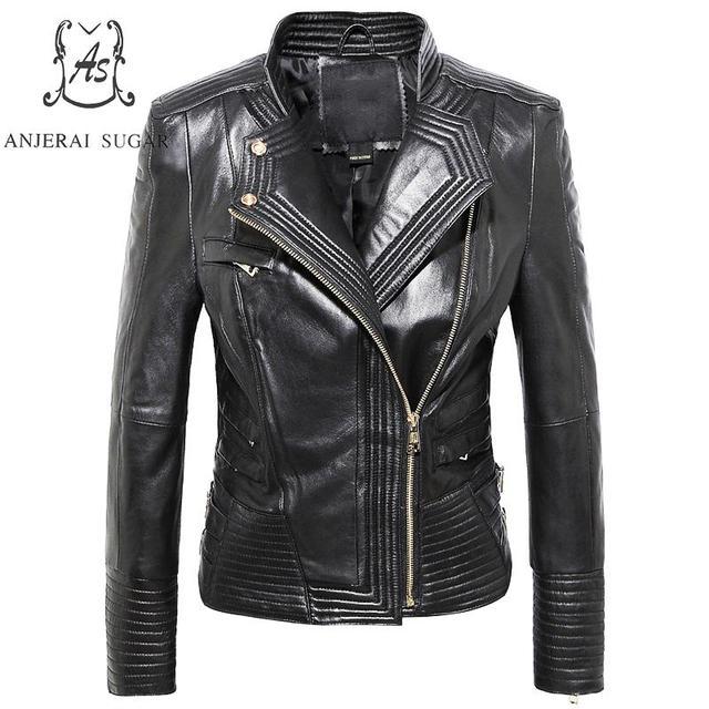 Plus Size sheepskin genuine Leather jacket women coat female Turn-down Collar Stripe design Motorcycle cazadoras de cuero mujer