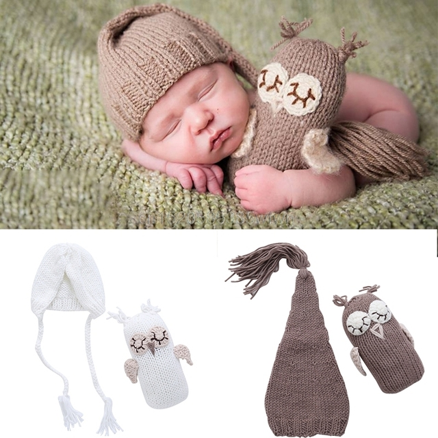 Newborn Baby Girls Boys Photography Prop Photo Owl Hat Set Crochet Knit  Outfits Free shipping b6a8a11fde8e