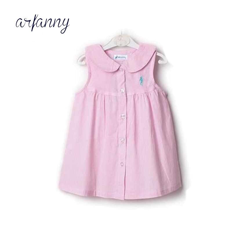 1 лет платья для маленьких девочек хлопковые полосатые воротник без рукавов платье-футболка. Летнее платье для маленьких девочек