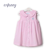 1 year old baby girls dresses cotton striped sleeveless doll collar shirt dress. Baby summer Girl dress