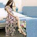 New2016Summer Богемия Стиль Женщины цветочный печатных длинное Платье из шифона V шеи элегантный пляжный отдых платье vestidos longos 4XL 3911